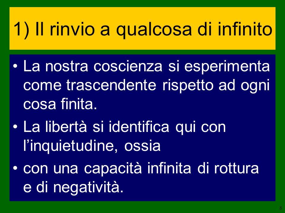 9 Pascal: luomo non è creato che per linfinito Sartre: ogni coscienza è mancanza, desiderio, inquietudine