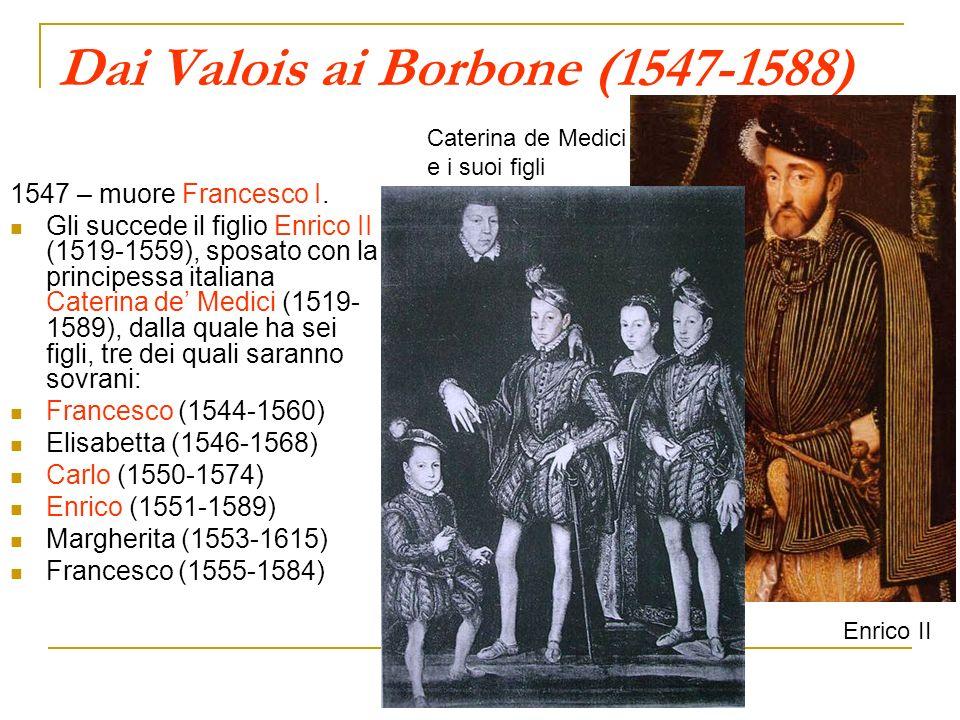 Dai Valois ai Borbone (1547-1588) 1547 – muore Francesco I. Gli succede il figlio Enrico II (1519-1559), sposato con la principessa italiana Caterina