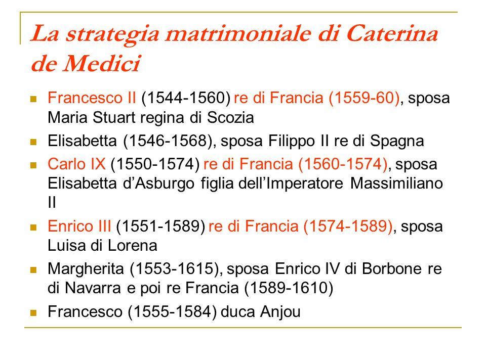La strategia matrimoniale di Caterina de Medici Francesco II (1544-1560) re di Francia (1559-60), sposa Maria Stuart regina di Scozia Elisabetta (1546