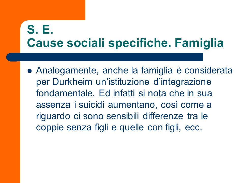 S. E. Cause sociali specifiche. Famiglia Analogamente, anche la famiglia è considerata per Durkheim unistituzione dintegrazione fondamentale. Ed infat