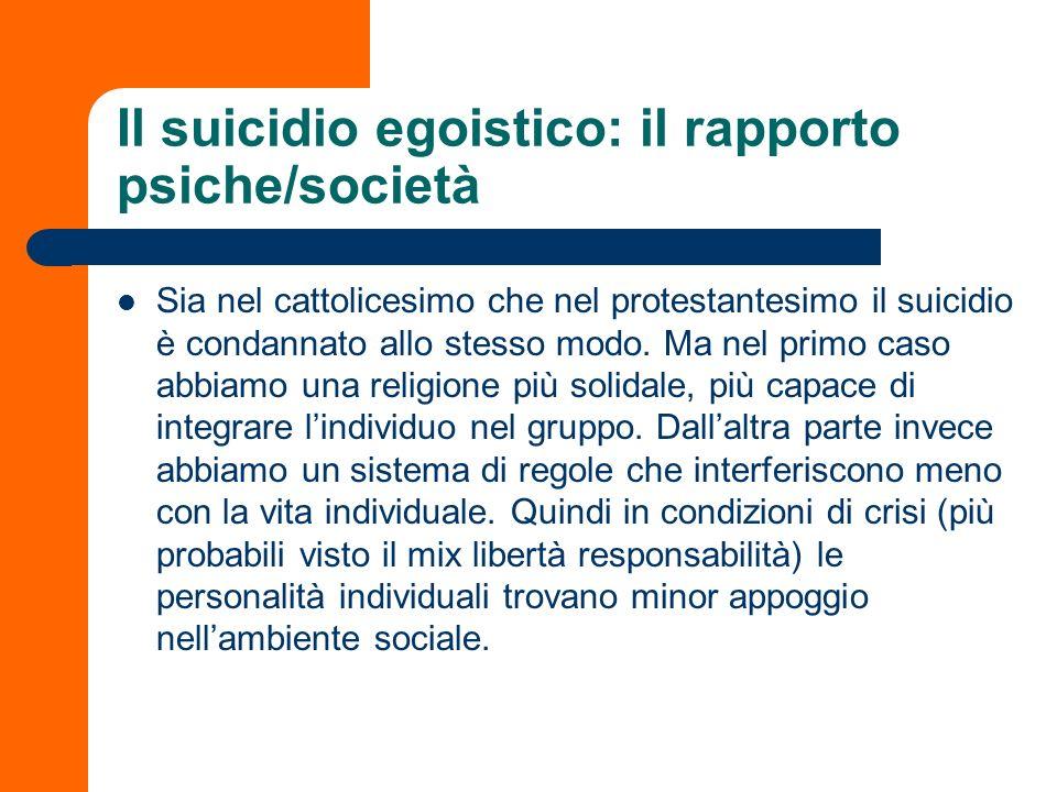 Il suicidio egoistico: il rapporto psiche/società Sia nel cattolicesimo che nel protestantesimo il suicidio è condannato allo stesso modo. Ma nel prim