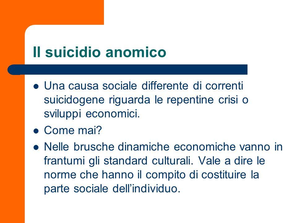 Il suicidio anomico Una causa sociale differente di correnti suicidogene riguarda le repentine crisi o sviluppi economici. Come mai? Nelle brusche din