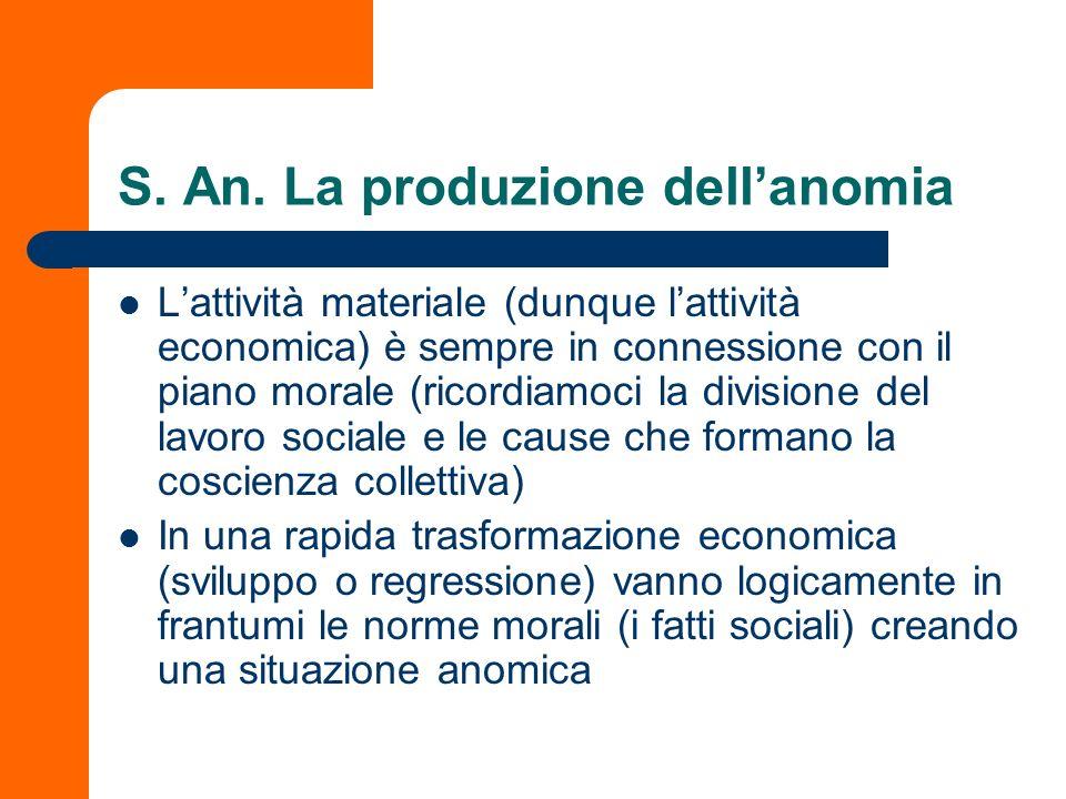 S. An. La produzione dellanomia Lattività materiale (dunque lattività economica) è sempre in connessione con il piano morale (ricordiamoci la division