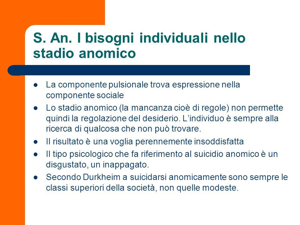 S. An. I bisogni individuali nello stadio anomico La componente pulsionale trova espressione nella componente sociale Lo stadio anomico (la mancanza c