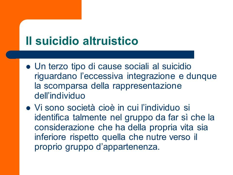Il suicidio altruistico Un terzo tipo di cause sociali al suicidio riguardano leccessiva integrazione e dunque la scomparsa della rappresentazione del