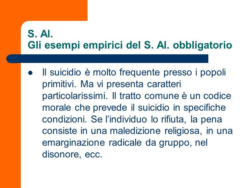 S. Al. Gli esempi empirici del S. Al. obbligatorio Il suicidio è molto frequente presso i popoli primitivi. Ma vi presenta caratteri particolarissimi.