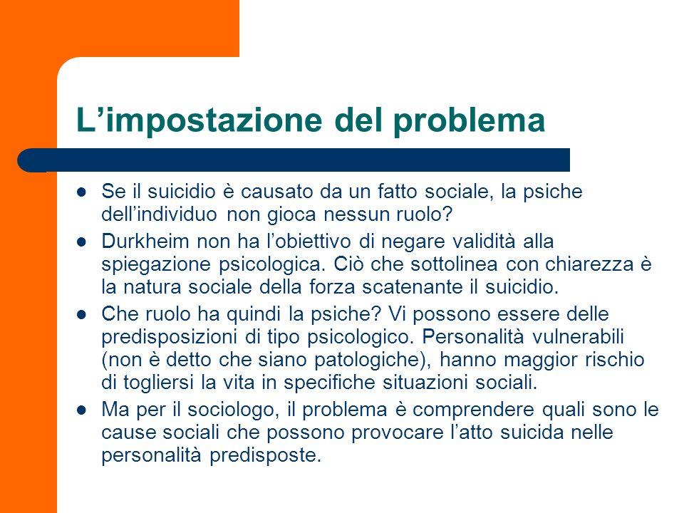 Limpostazione del problema Se il suicidio è causato da un fatto sociale, la psiche dellindividuo non gioca nessun ruolo? Durkheim non ha lobiettivo di