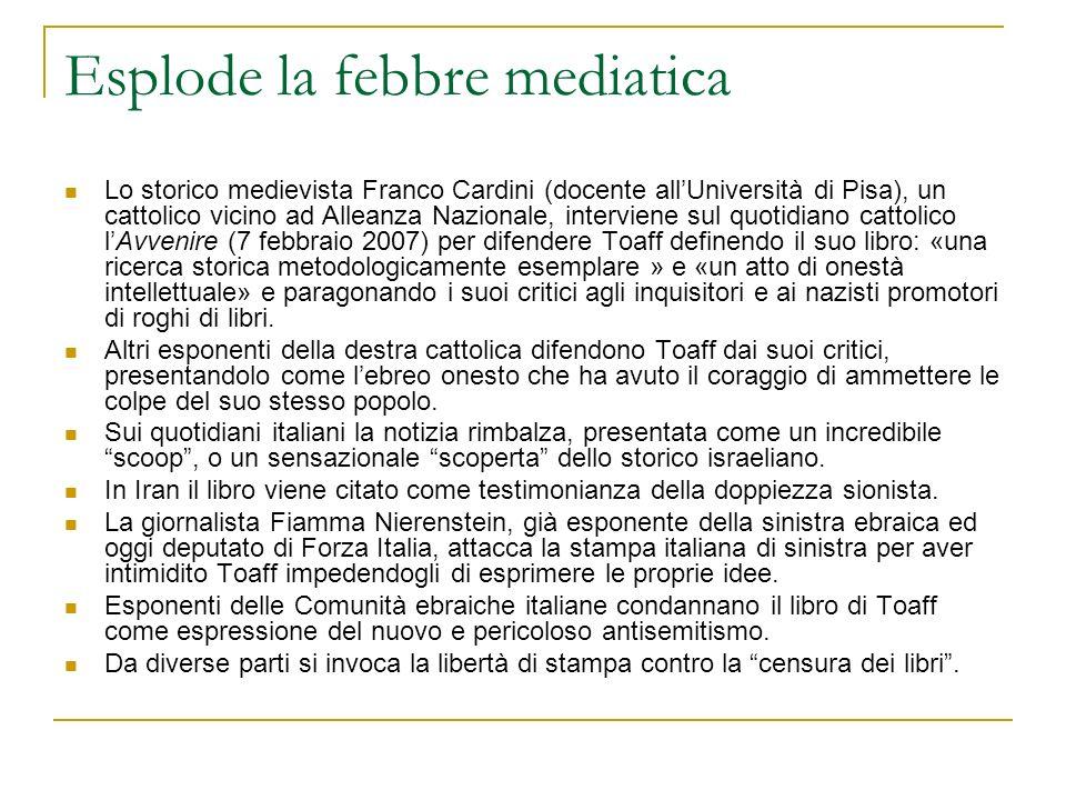 Esplode la febbre mediatica Lo storico medievista Franco Cardini (docente allUniversità di Pisa), un cattolico vicino ad Alleanza Nazionale, intervien
