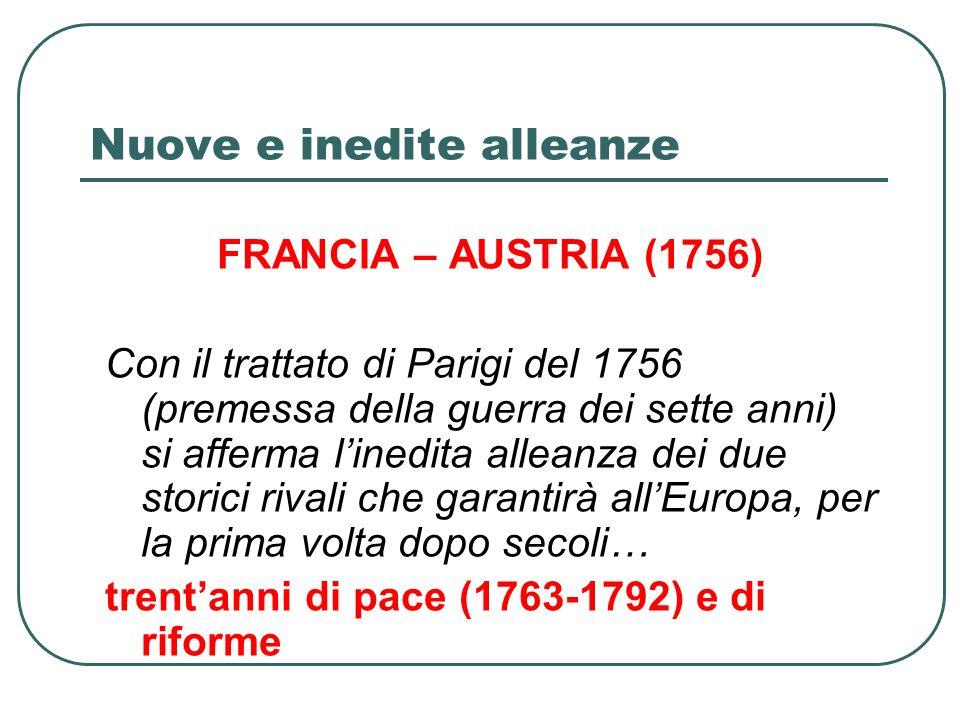 Nuove e inedite alleanze FRANCIA – AUSTRIA (1756) Con il trattato di Parigi del 1756 (premessa della guerra dei sette anni) si afferma linedita alleanza dei due storici rivali che garantirà allEuropa, per la prima volta dopo secoli… trentanni di pace (1763-1792) e di riforme