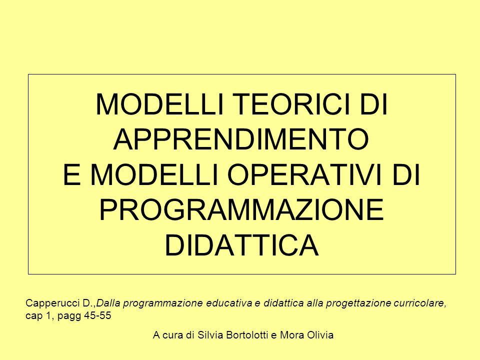 MODELLI TEORICI DI APPRENDIMENTO E MODELLI OPERATIVI DI PROGRAMMAZIONE DIDATTICA Capperucci D.,Dalla programmazione educativa e didattica alla progett
