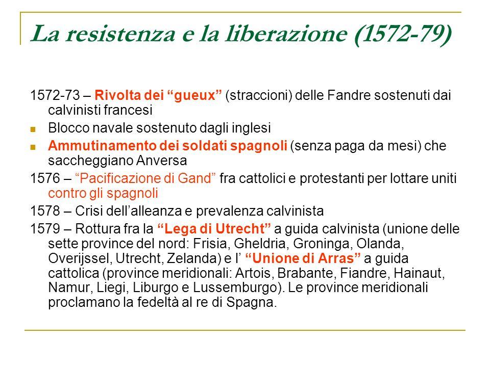 La resistenza e la liberazione (1572-79) 1572-73 – Rivolta dei gueux (straccioni) delle Fandre sostenuti dai calvinisti francesi Blocco navale sostenu