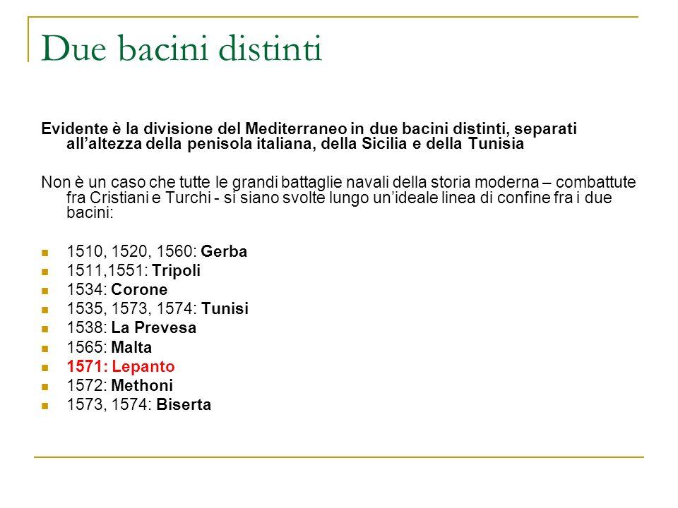 Due bacini distinti Evidente è la divisione del Mediterraneo in due bacini distinti, separati allaltezza della penisola italiana, della Sicilia e dell
