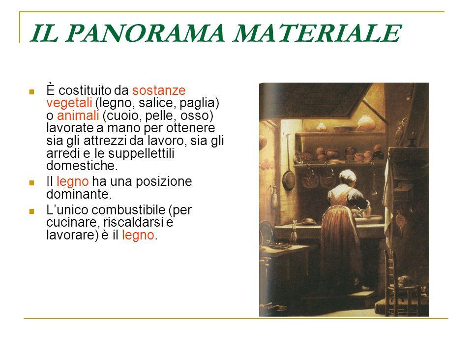 IL PANORAMA MATERIALE È costituito da sostanze vegetali (legno, salice, paglia) o animali (cuoio, pelle, osso) lavorate a mano per ottenere sia gli at
