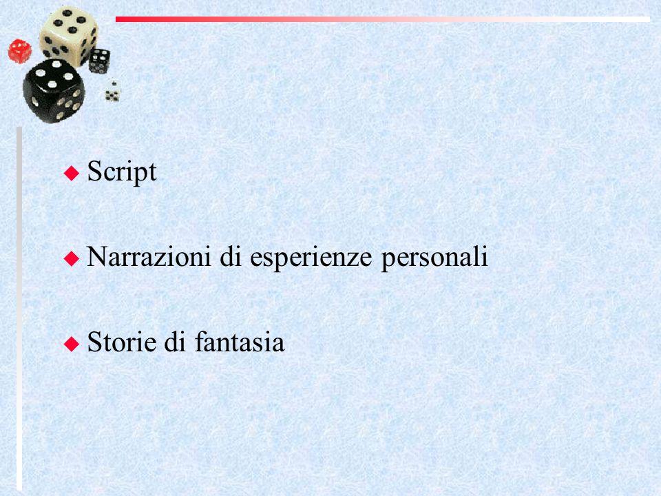 Script Narrazioni di esperienze personali Storie di fantasia
