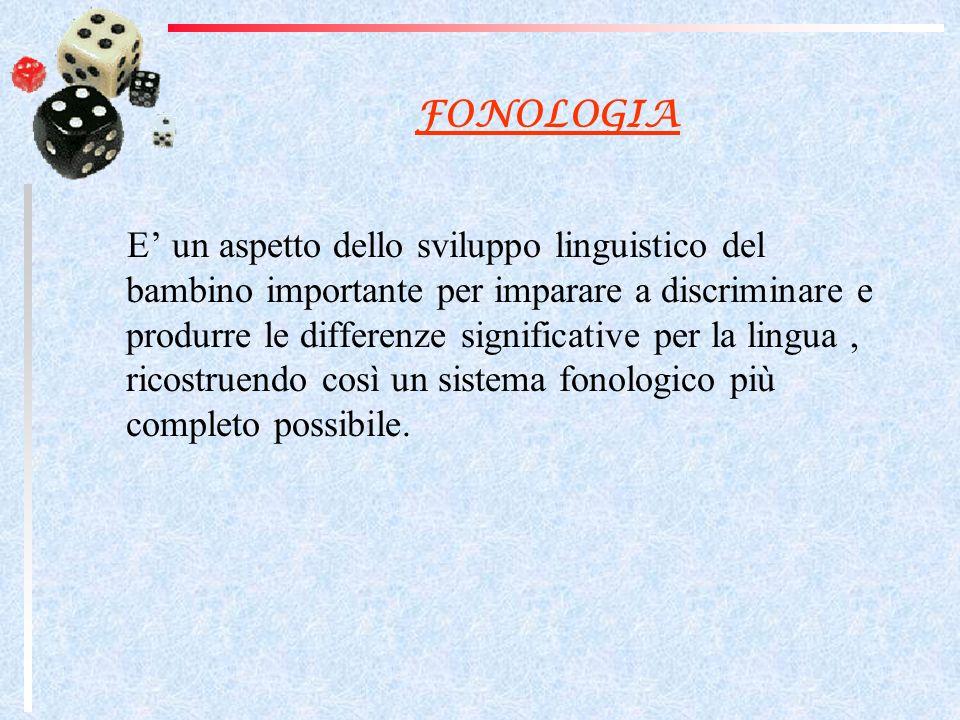 FONOLOGIA E un aspetto dello sviluppo linguistico del bambino importante per imparare a discriminare e produrre le differenze significative per la lingua, ricostruendo così un sistema fonologico più completo possibile.