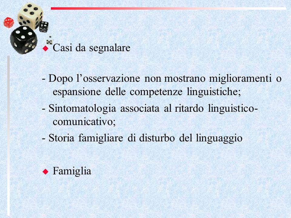 Casi da segnalare - Dopo losservazione non mostrano miglioramenti o espansione delle competenze linguistiche; - Sintomatologia associata al ritardo linguistico- comunicativo; - Storia famigliare di disturbo del linguaggio Famiglia