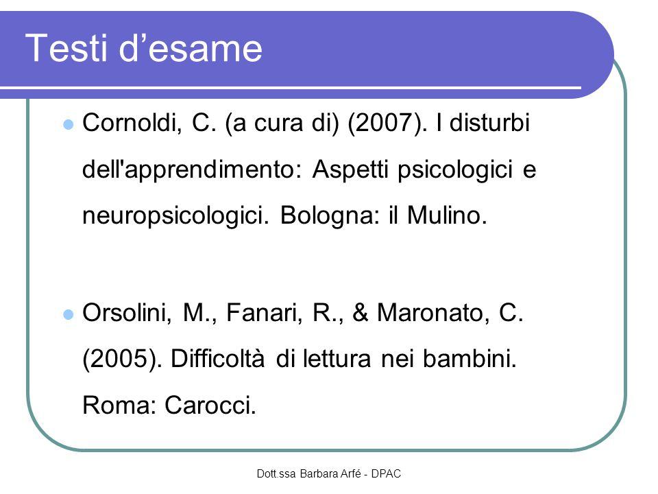 Testi desame Cornoldi, C. (a cura di) (2007). I disturbi dell'apprendimento: Aspetti psicologici e neuropsicologici. Bologna: il Mulino. Orsolini, M.,