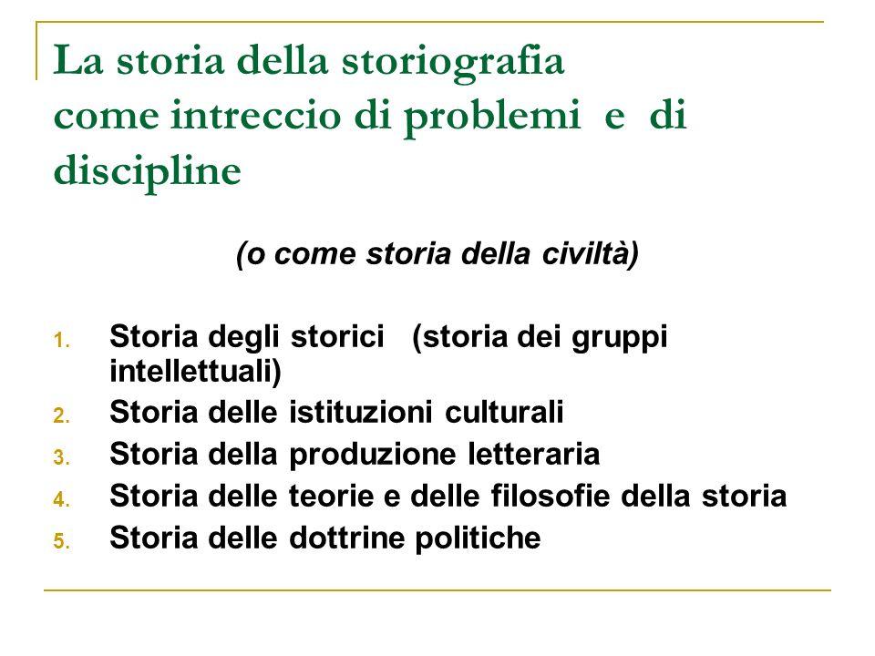 La storia della storiografia come intreccio di problemi e di discipline (o come storia della civiltà) 1. Storia degli storici (storia dei gruppi intel