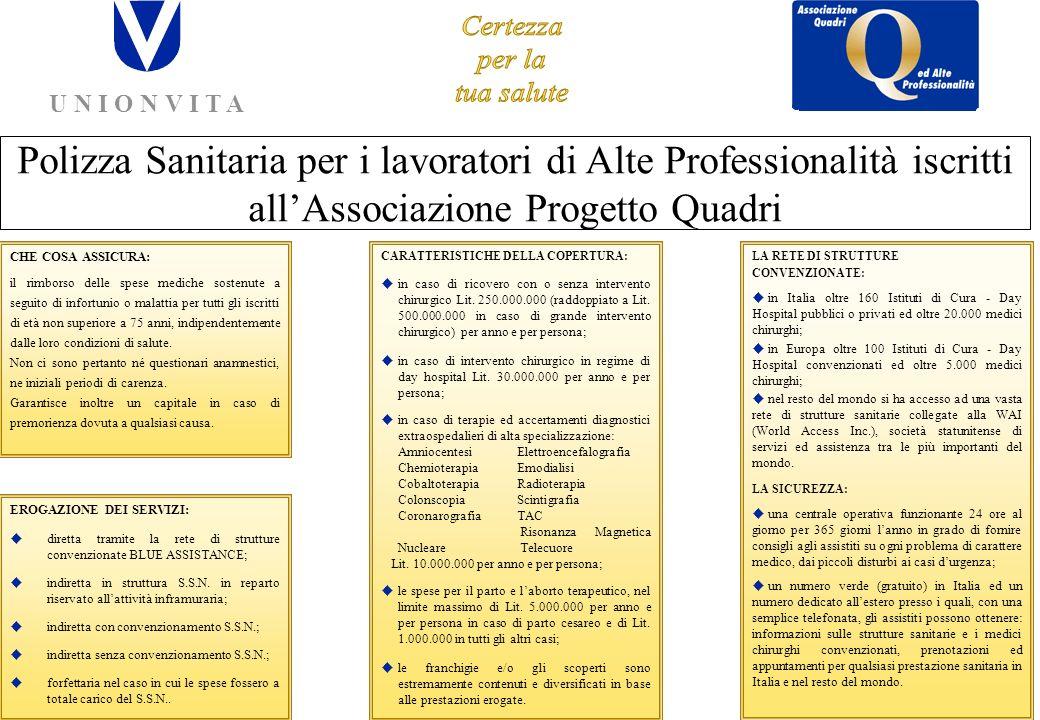 APQ - CISL ed UNIONVITA presentano la Nuova Polizza a tutela della Tua SALUTE U N I O N V I T A Assicurazioni per la vita UNIONVITA S.p.A.