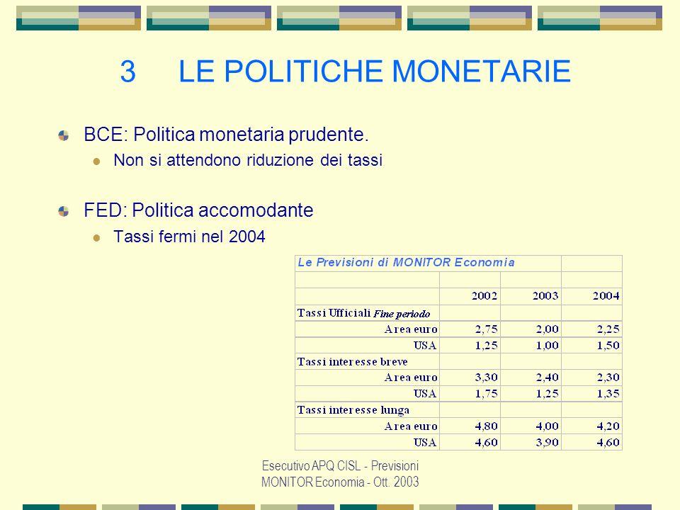 Esecutivo APQ CISL - Previsioni MONITOR Economia - Ott. 2003 7 ITALIA: OCCUPAZIONE