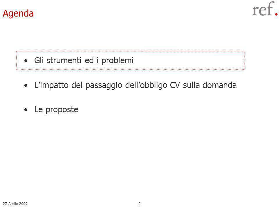 27 Aprile 20092 Agenda Gli strumenti ed i problemi Limpatto del passaggio dellobbligo CV sulla domanda Le proposte