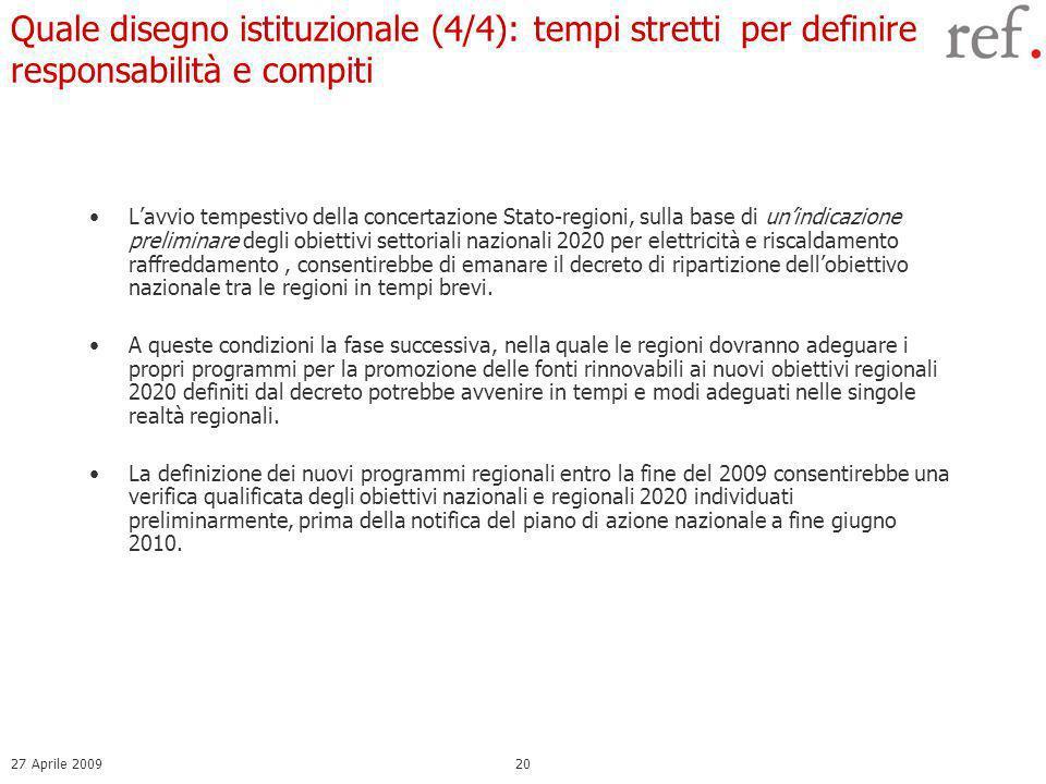 27 Aprile 200920 Lavvio tempestivo della concertazione Stato-regioni, sulla base di unindicazione preliminare degli obiettivi settoriali nazionali 2020 per elettricità e riscaldamento raffreddamento, consentirebbe di emanare il decreto di ripartizione dellobiettivo nazionale tra le regioni in tempi brevi.