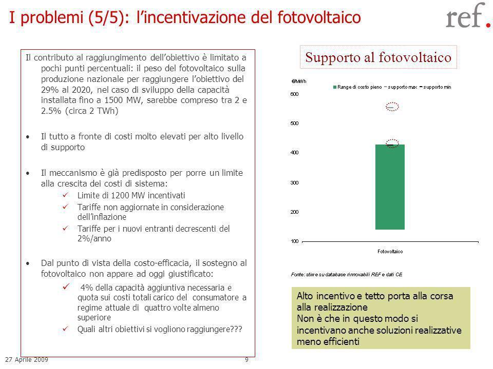27 Aprile 20099 I problemi (5/5): lincentivazione del fotovoltaico Il contributo al raggiungimento dellobiettivo è limitato a pochi punti percentuali: il peso del fotovoltaico sulla produzione nazionale per raggiungere lobiettivo del 29% al 2020, nel caso di sviluppo della capacità installata fino a 1500 MW, sarebbe compreso tra 2 e 2.5% (circa 2 TWh) Il tutto a fronte di costi molto elevati per alto livello di supporto Il meccanismo è già predisposto per porre un limite alla crescita dei costi di sistema: Limite di 1200 MW incentivati Tariffe non aggiornate in considerazione dellinflazione Tariffe per i nuovi entranti decrescenti del 2%/anno Dal punto di vista della costo-efficacia, il sostegno al fotovoltaico non appare ad oggi giustificato: 4% della capacità aggiuntiva necessaria e quota sui costi totali carico del consumatore a regime attuale di quattro volte almeno superiore Quali altri obiettivi si vogliono raggiungere??.