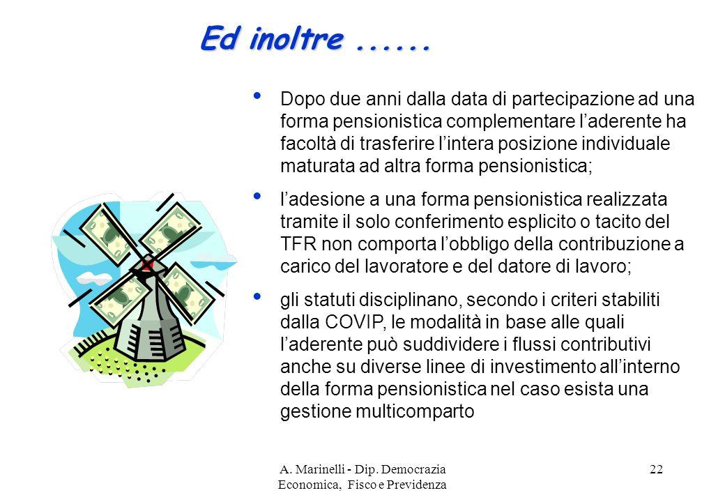 A. Marinelli - Dip. Democrazia Economica, Fisco e Previdenza 22 Ed inoltre......