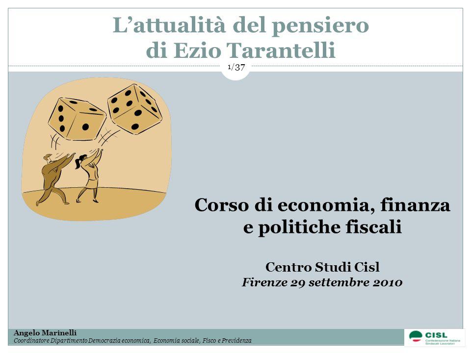 1/ 37 Angelo Marinelli Coordinatore Dipartimento Democrazia economica, Economia sociale, Fisco e Previdenza 1/ 37 Lattualità del pensiero di Ezio Tara
