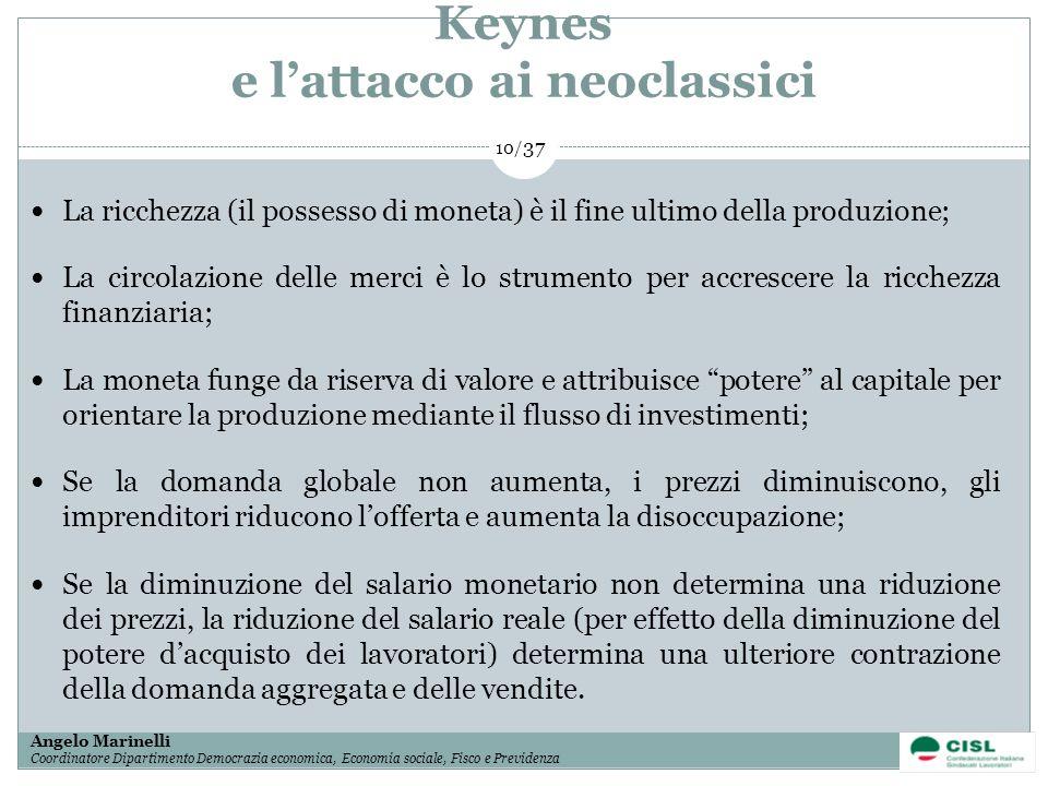 1/ 37 Angelo Marinelli Coordinatore Dipartimento Democrazia economica, Economia sociale, Fisco e Previdenza 10/ 37 Keynes e lattacco ai neoclassici La
