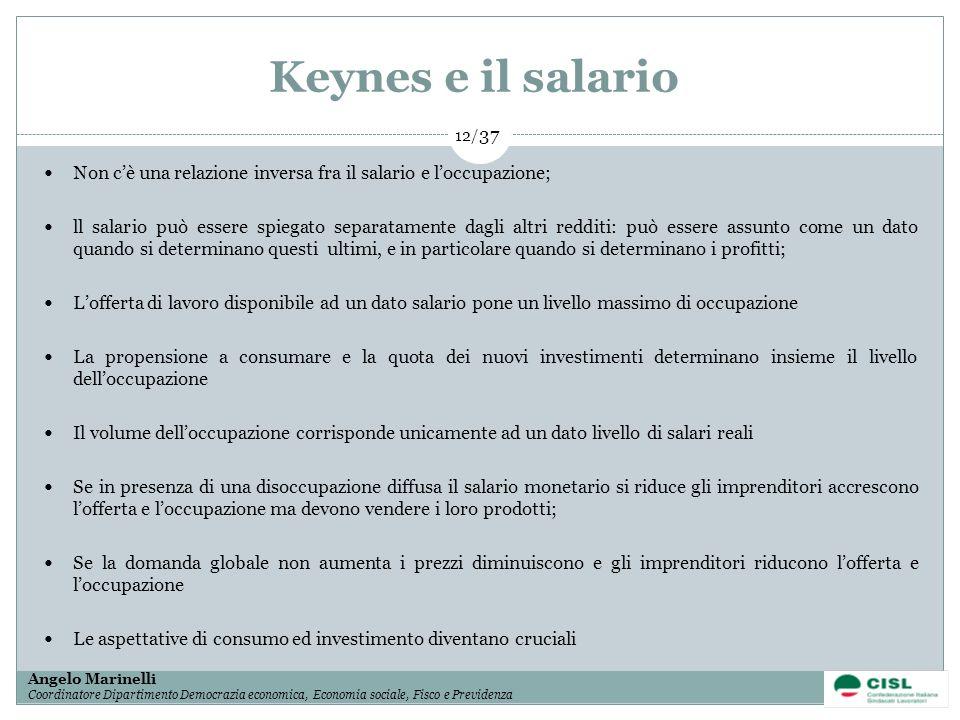 1/ 37 Angelo Marinelli Coordinatore Dipartimento Democrazia economica, Economia sociale, Fisco e Previdenza 12/ 37 Keynes e il salario Non cè una rela