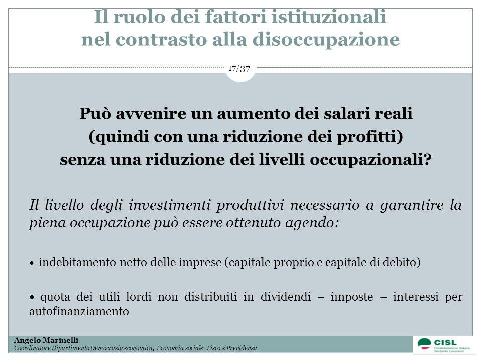 1/ 37 Angelo Marinelli Coordinatore Dipartimento Democrazia economica, Economia sociale, Fisco e Previdenza 17/ 37 Il ruolo dei fattori istituzionali