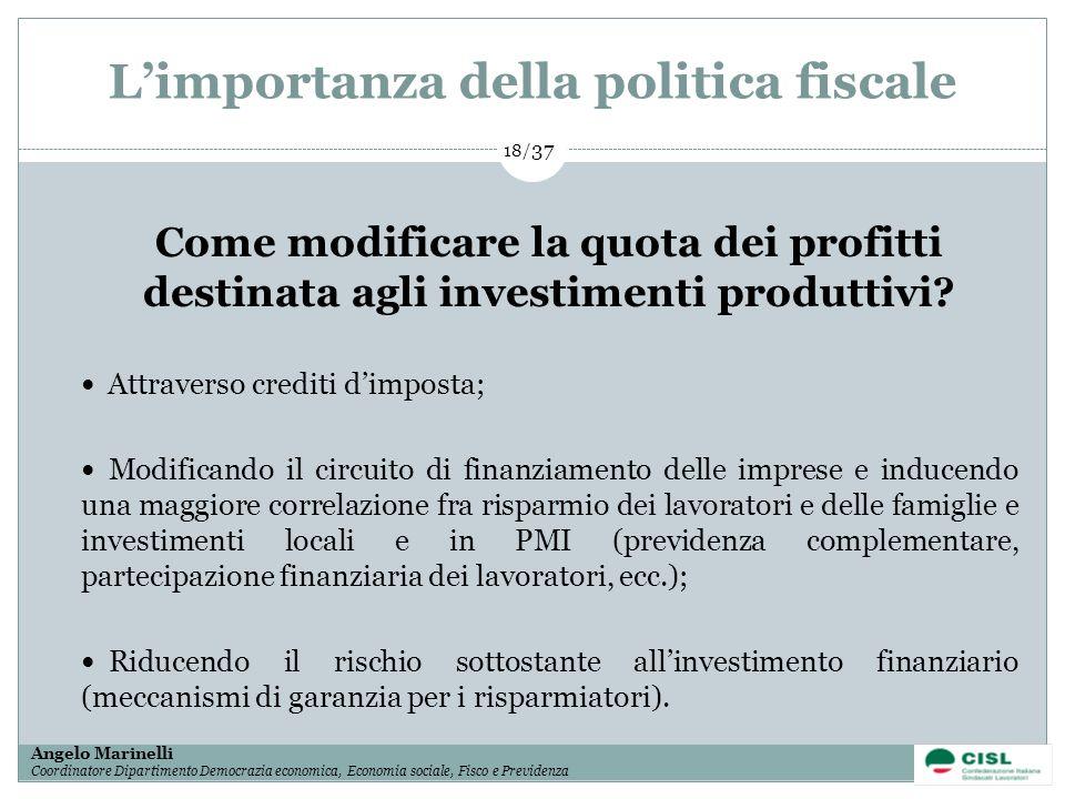 1/ 37 Angelo Marinelli Coordinatore Dipartimento Democrazia economica, Economia sociale, Fisco e Previdenza 18/ 37 Limportanza della politica fiscale