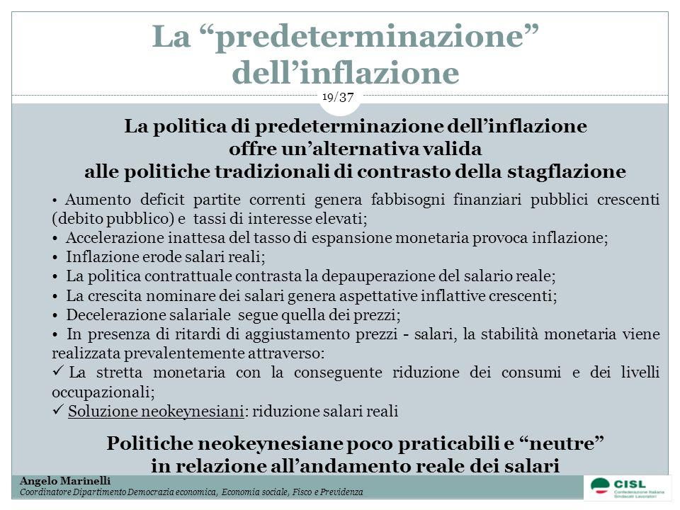 1/ 37 Angelo Marinelli Coordinatore Dipartimento Democrazia economica, Economia sociale, Fisco e Previdenza 19/ 37 La predeterminazione dellinflazione