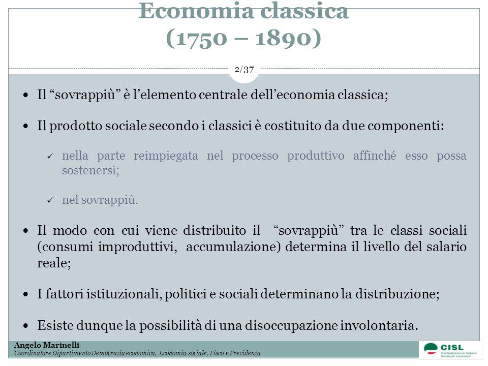 1/ 37 Angelo Marinelli Coordinatore Dipartimento Democrazia economica, Economia sociale, Fisco e Previdenza 2/ 37 Economia classica (1750 – 1890) Il s