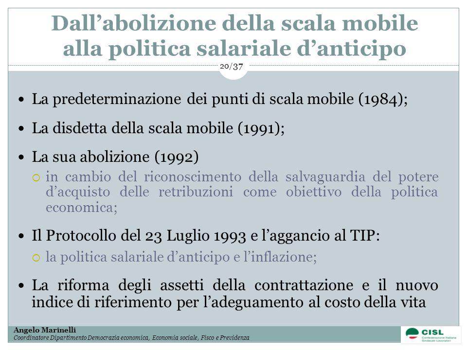 1/ 37 Angelo Marinelli Coordinatore Dipartimento Democrazia economica, Economia sociale, Fisco e Previdenza 20/ 37 Dallabolizione della scala mobile a