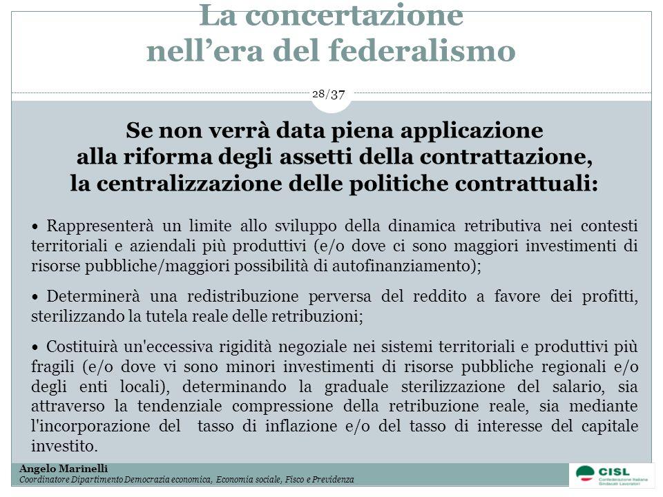 1/ 37 Angelo Marinelli Coordinatore Dipartimento Democrazia economica, Economia sociale, Fisco e Previdenza 28/ 37 Se non verrà data piena applicazion