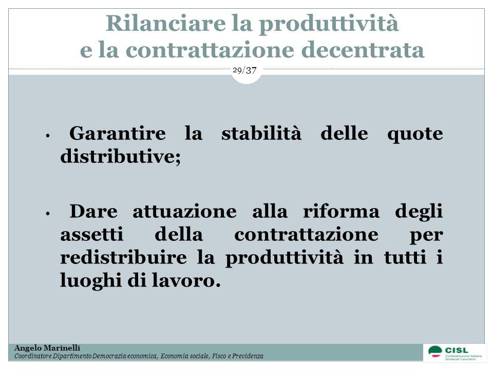 1/ 37 Angelo Marinelli Coordinatore Dipartimento Democrazia economica, Economia sociale, Fisco e Previdenza 29/ 37 Garantire la stabilità delle quote