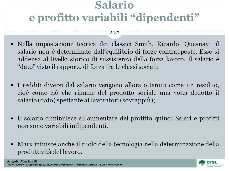 1/ 37 Angelo Marinelli Coordinatore Dipartimento Democrazia economica, Economia sociale, Fisco e Previdenza 3/ 37 Salario e profitto variabili dipende