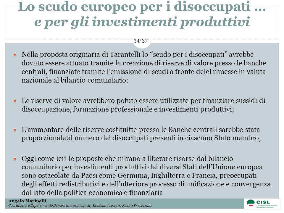 1/ 37 Angelo Marinelli Coordinatore Dipartimento Democrazia economica, Economia sociale, Fisco e Previdenza 34/ 37 Nella proposta originaria di Tarant