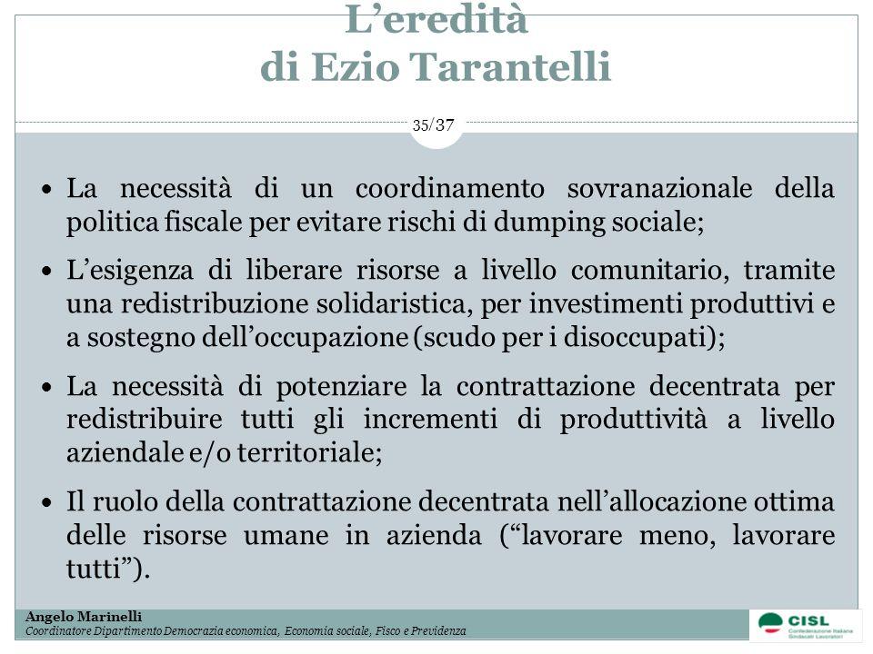 1/ 37 Angelo Marinelli Coordinatore Dipartimento Democrazia economica, Economia sociale, Fisco e Previdenza 35/ 37 Leredità di Ezio Tarantelli La nece