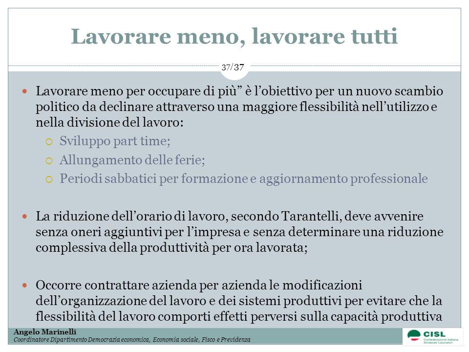 1/ 37 Angelo Marinelli Coordinatore Dipartimento Democrazia economica, Economia sociale, Fisco e Previdenza 37/ 37 Lavorare meno per occupare di più è
