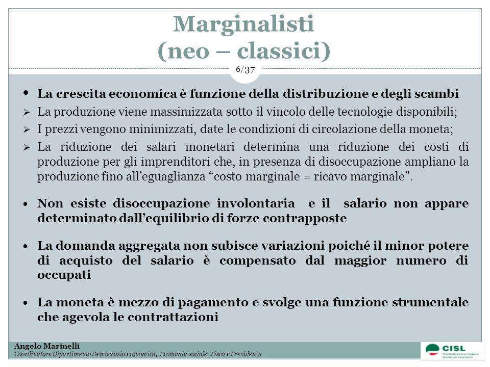 1/ 37 Angelo Marinelli Coordinatore Dipartimento Democrazia economica, Economia sociale, Fisco e Previdenza 6/ 37 Marginalisti (neo – classici) La cre
