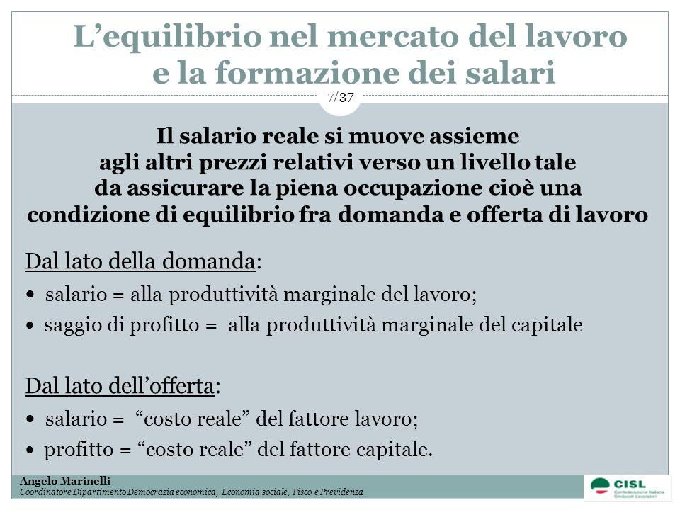 1/ 37 Angelo Marinelli Coordinatore Dipartimento Democrazia economica, Economia sociale, Fisco e Previdenza 7/ 37 Il salario reale si muove assieme ag