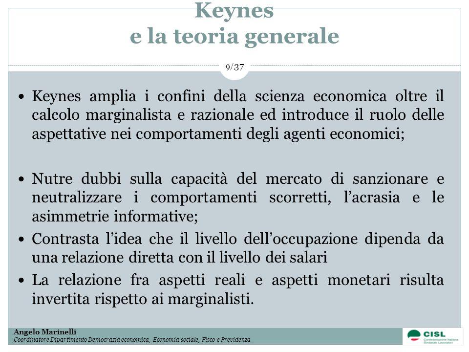 1/ 37 Angelo Marinelli Coordinatore Dipartimento Democrazia economica, Economia sociale, Fisco e Previdenza 9/ 37 Keynes e la teoria generale Keynes a
