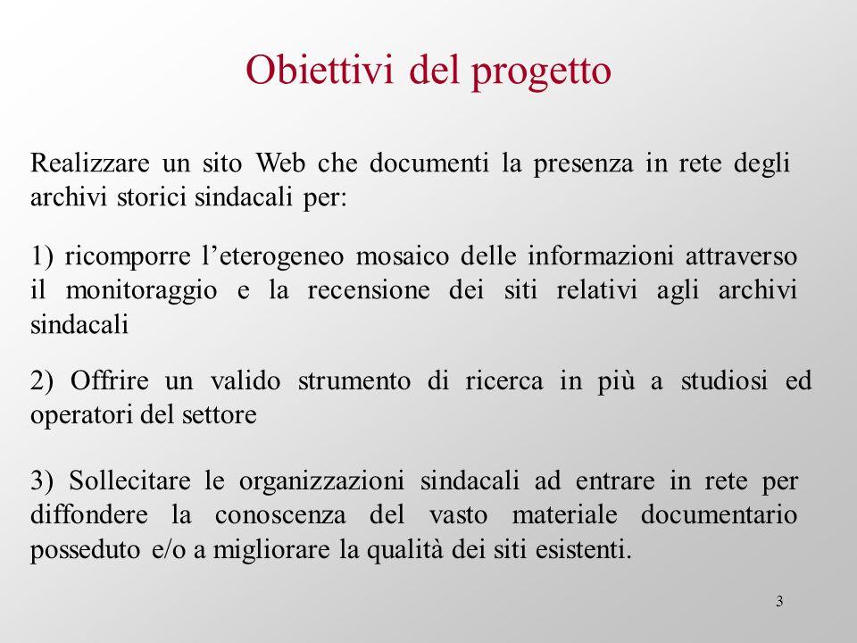 3 Obiettivi del progetto Realizzare un sito Web che documenti la presenza in rete degli archivi storici sindacali per: 1) ricomporre leterogeneo mosai