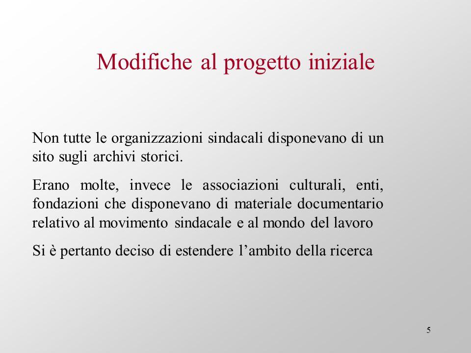 5 Modifiche al progetto iniziale Non tutte le organizzazioni sindacali disponevano di un sito sugli archivi storici. Erano molte, invece le associazio