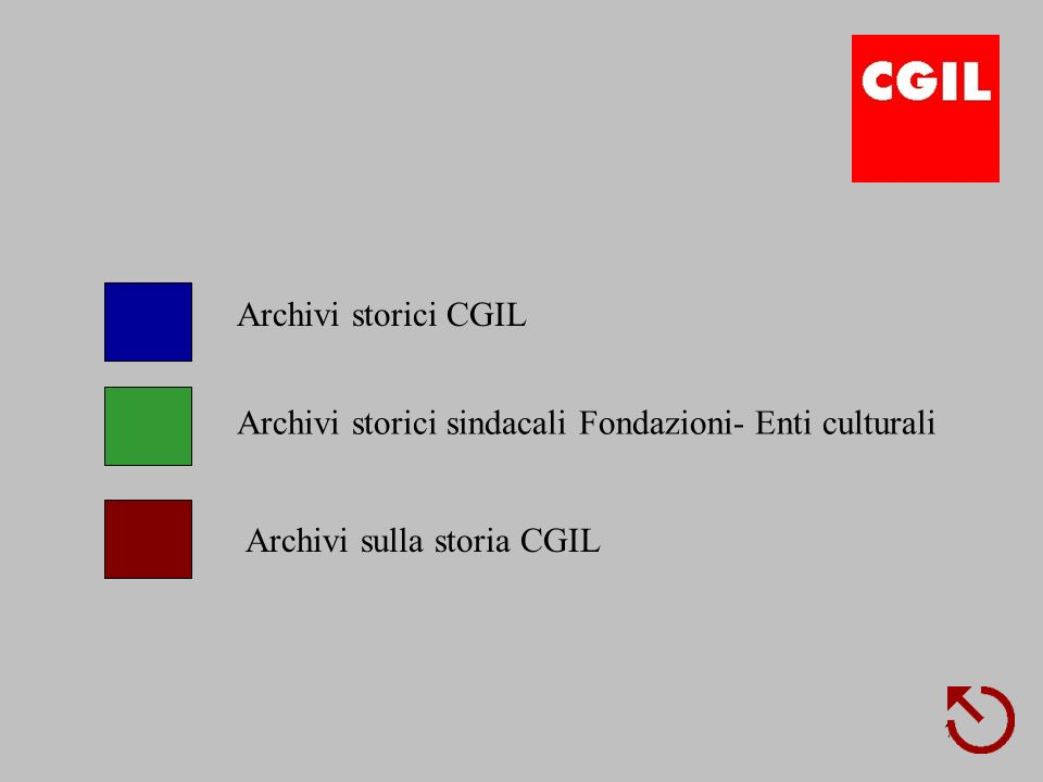 7 Archivi storici CGIL Archivi storici sindacali Fondazioni- Enti culturali Archivi sulla storia CGIL