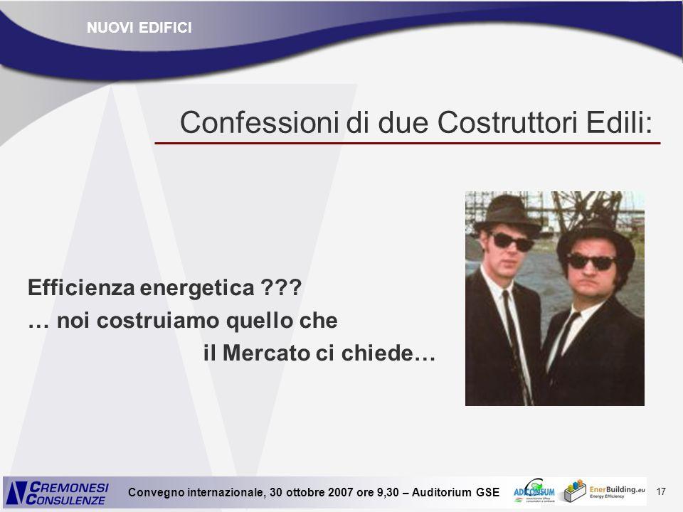 17 Convegno internazionale, 30 ottobre 2007 ore 9,30 – Auditorium GSE Confessioni di due Costruttori Edili: Efficienza energetica ??? … noi costruiamo