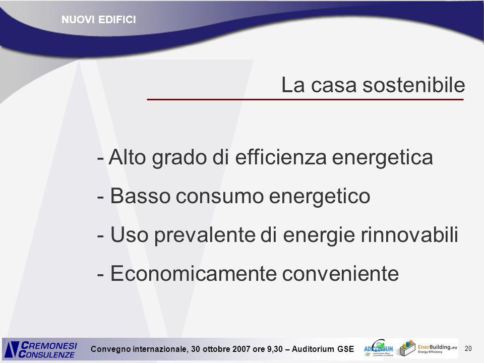 20 Convegno internazionale, 30 ottobre 2007 ore 9,30 – Auditorium GSE La casa sostenibile - Alto grado di efficienza energetica - Basso consumo energe